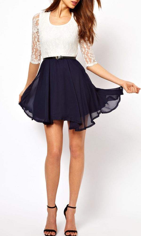 Sexy Fashion Summer Women Ladies Chiffon Dress Lace Top Mini Dress Skater Cute Casual White