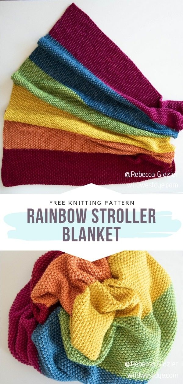 Rainbow Knitted Baby Blankets with Free Patterns in 2020 ...
