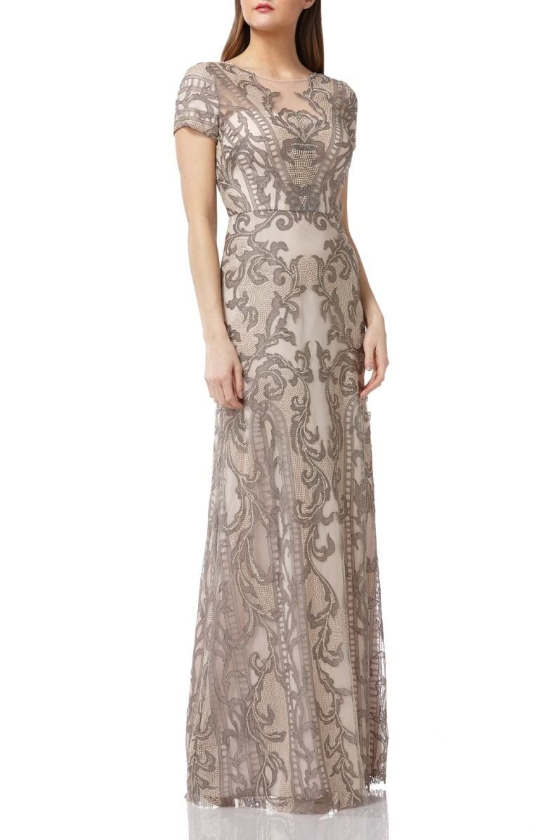 3266340cf5 Free shipping and returns on JS Collections Embroidered A-Line Gown at  Nordstrom.com. A romance of lacy embroidery embellishes this gown