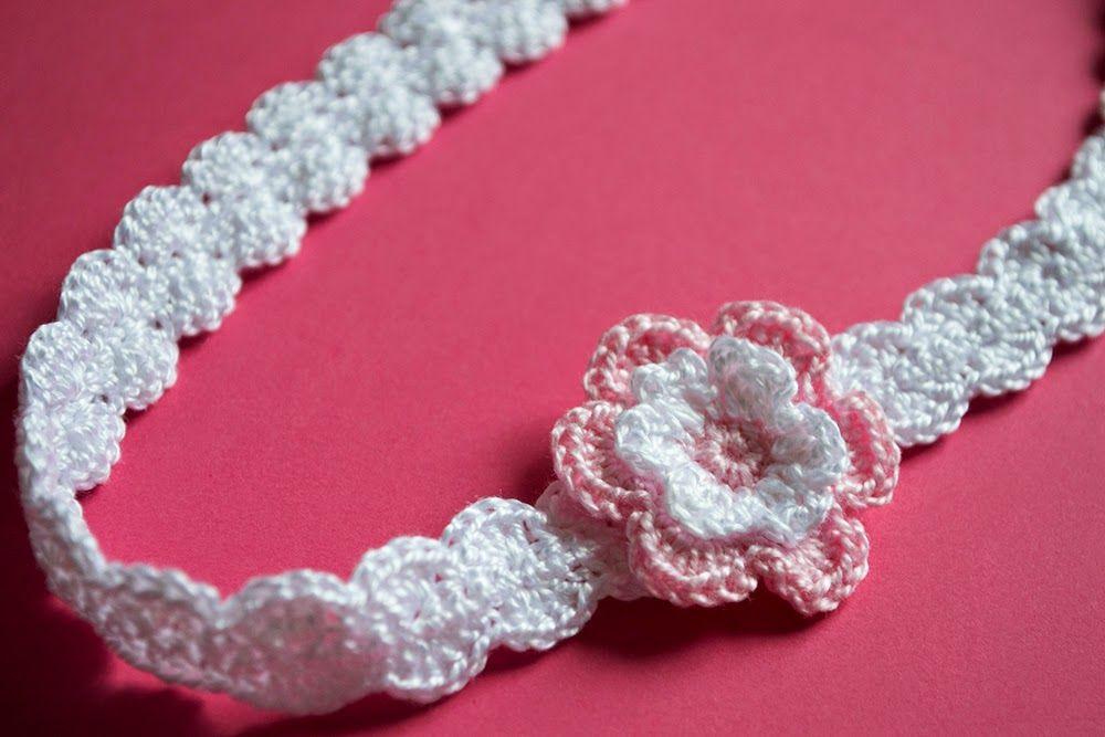 Sandalias rosas con diademas de ganchillo para beb - Diademas de ganchillo ...