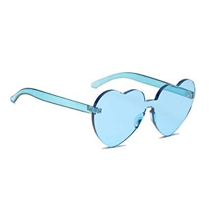 0284b41f56ac Amazon.com  Meyison Playful Heart Shape Rimless Sunglasses