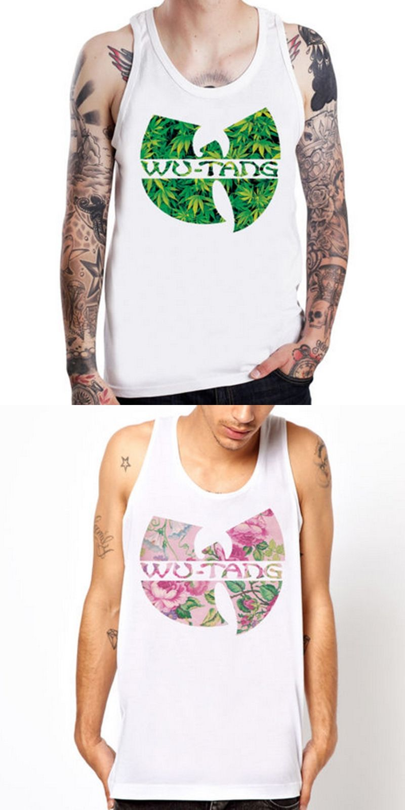 074646f93b697 Sleeveless WU TANG CLAN flower white Tank Top Bodybuilding Fitness Men s  Cotton Singlets Muscle Clothes Plus Size Vest