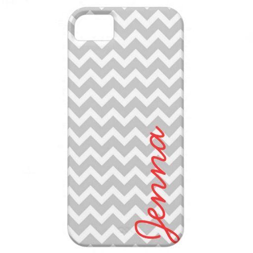 Gray Chevron Personalized Custom Monogram iPhone 5 Case