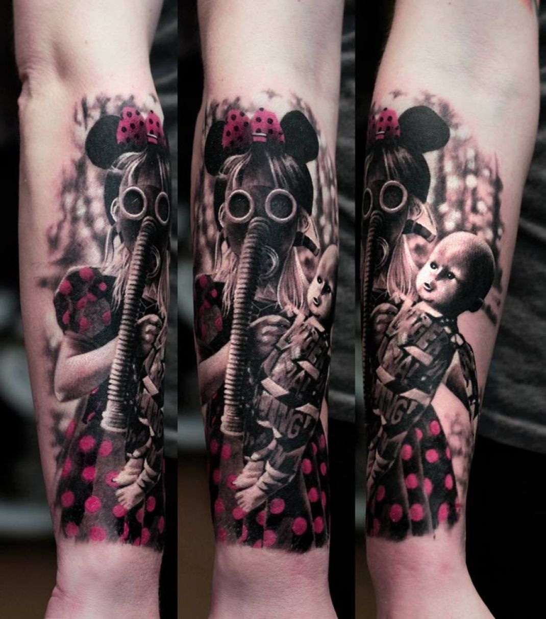 44 best gas mask tattoos collection - Gas Mask Little Girl Tattoo