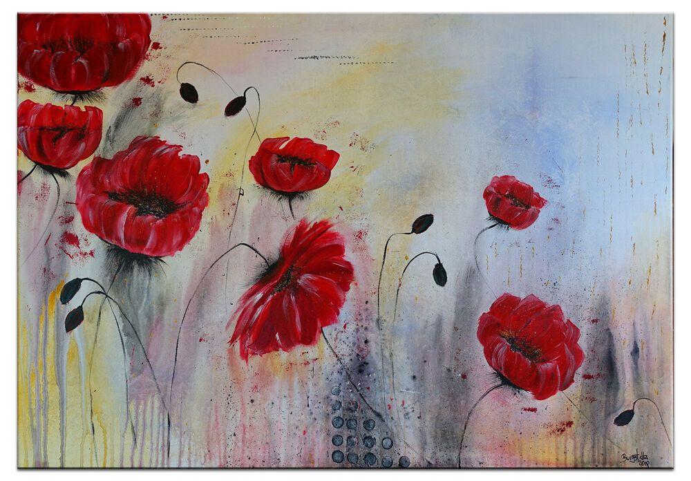 Burgstaller Mohnblumen Malerei Gemalde Blumenbild Original Unikat Wandbild Acryl Mohn Malerei Wie Man Blumen Malt Blumen Kunst