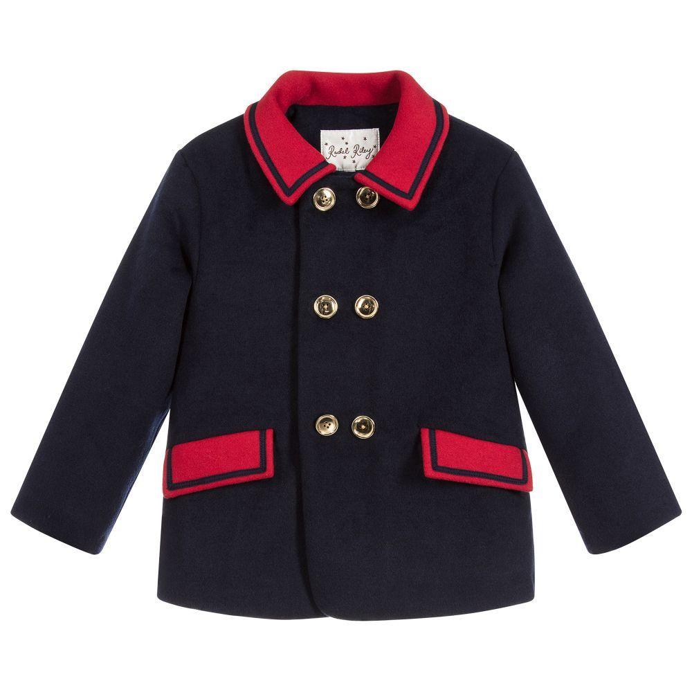 9a13a7783 Boys Blue Wool Blend Coat