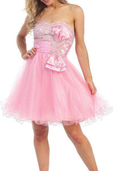 Short Light Pink Homecoming Baby Doll Dress Sweetheart Tulle Skirt $135.99