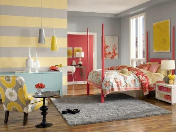 farbpalette farbgestaltung wanddeko Pastell Wandfarben waagerecht - schlafzimmer beispiele farben