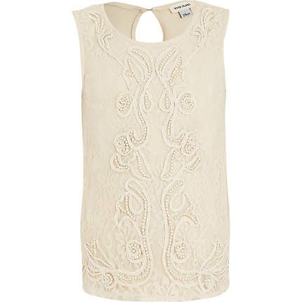 Girls cream pearl lace sleeveless top - vests - t-shirts / vests / tops - girls