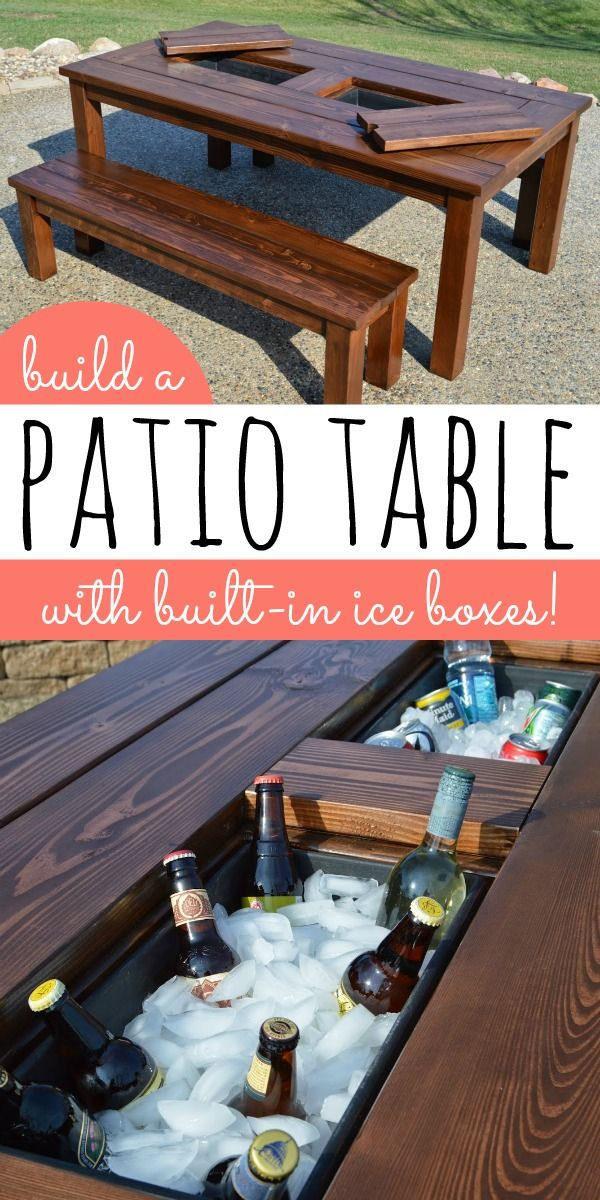 DIY Patio Table with Built-In Drink Coolers | Kruse's Workshop on Remodelaholic.com #diyfurniture
