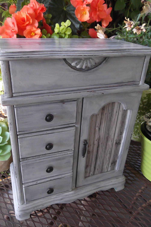 Paris Grey French Farmhouse Jewelry Box with Barnwood