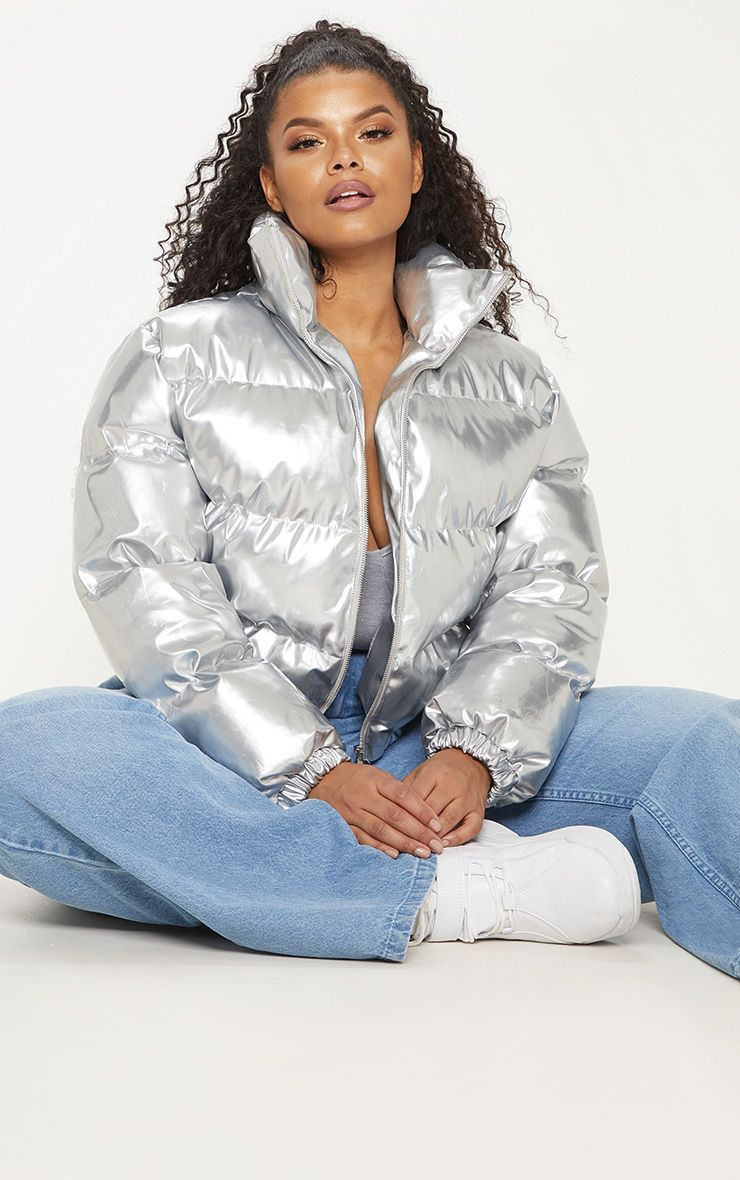 fbab36ebd Plus Silver Cropped Vinyl Puffer Jacket in 2019 | Products | Puffer ...