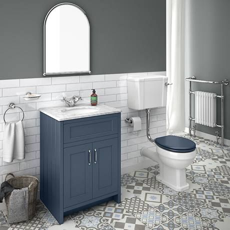 Chatsworth Blue 610mm Vanity with White Marble Basin Top | Victorian Plumbing UK #whitemarbleflooring