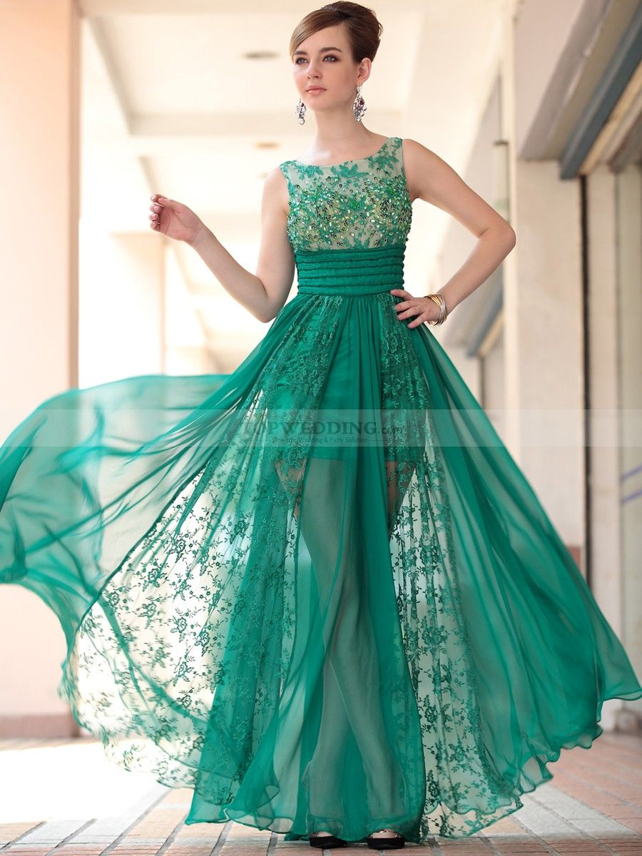 Sleeveless Beaded Prom Dress with Lace and Silk Chiffon Overlay ...