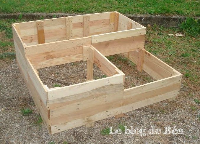 Diy carr potager en bois de palette le blog de b a for Amenagement jardin carre
