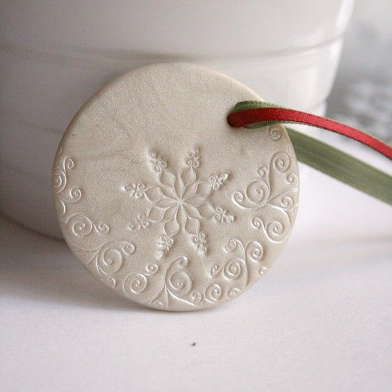 Large White Snowflakes Polymer Clay Christmas By