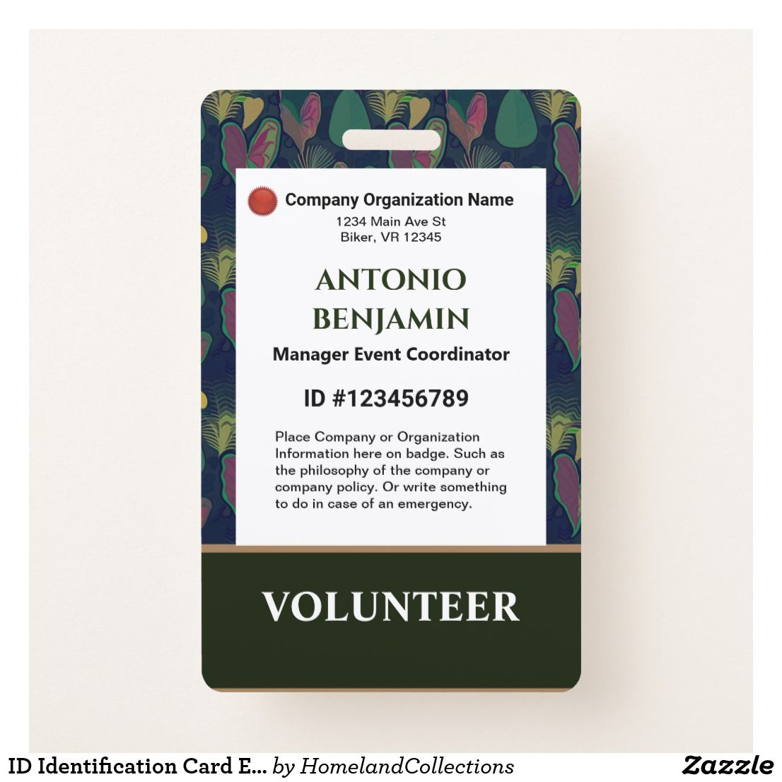 Id Identification Card Photo Business Corporate Badge Zazzle Com Custom Badges Organisation Name Personalized Logo