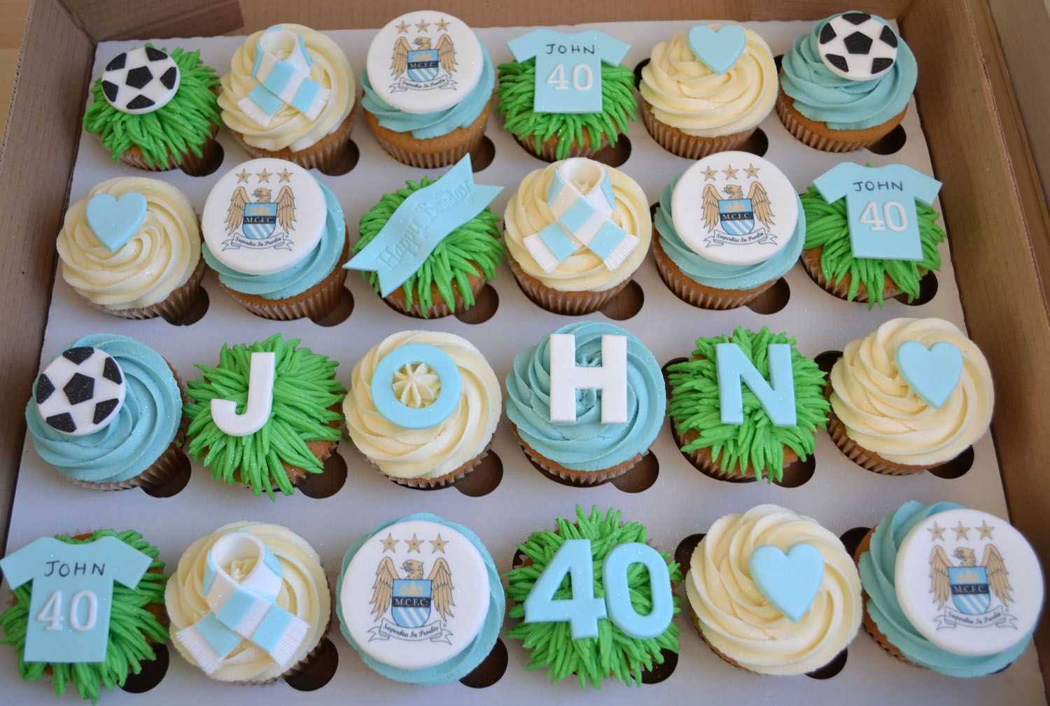 Little Paper Cakes Johns MCFC 40th Birthday Cupcakes Pops