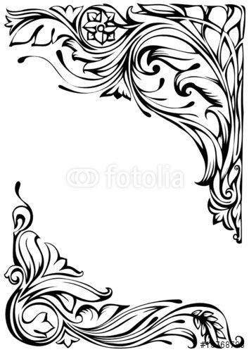 Vektor floral corner ornament jugendstil ornament for Ornamente jugendstil