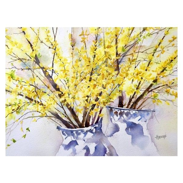 New Art, Forsythia Art, Watercolor, Art Print, Flower Art, Yellow ...