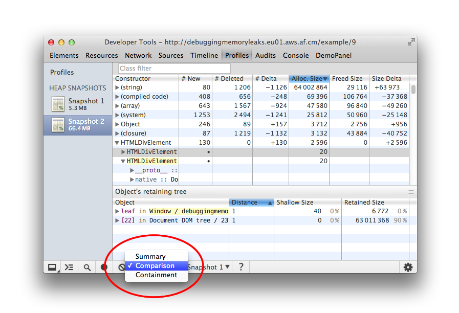 How To Record Heap Snapshots Memory Problems Snapshots Web