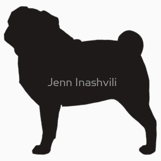 Pug Silhouette S Sticker By Jenn Inashvili Pugs Dog Silhouette Dog Art