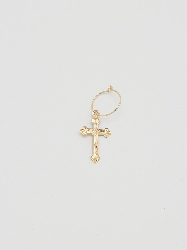 Single Cross Hoop Gold Hoop Earrings Cross Earrings