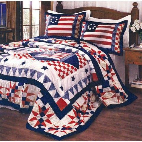 Patriotic Blue White Star Stripe Flag Pattern 3PC Bedding Cotton Quilt Set FU//QU