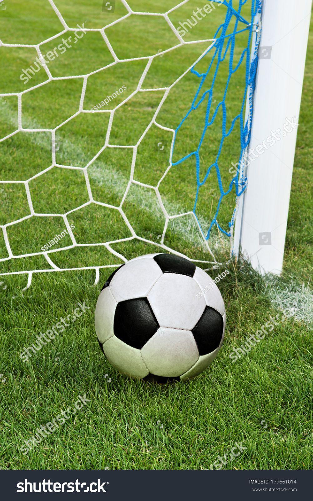 Soccer Ball In Goal Net With Green Grass Royalty Free Images Shutterstock Ball Go In 2020 Soccer Ball Goal Net Soccer Goal