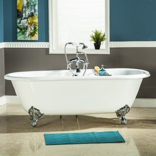 Photo of 60-in Cast Iron Double Ended Clawfoot Tub (No Faucet Drillings) (Brushed Nickel), Kingston Brass