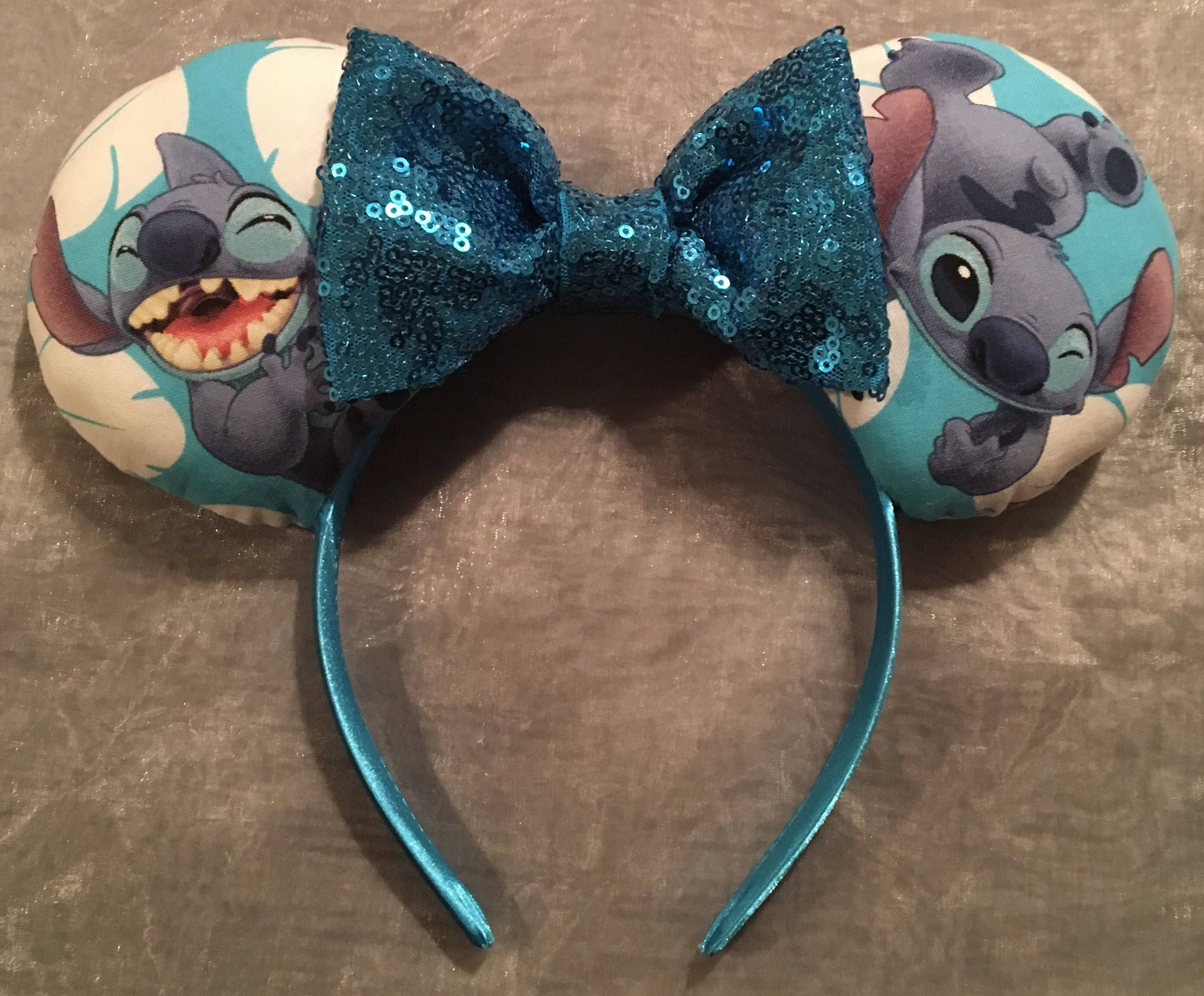 Rare! Stitch from Lilo and Stitch Mickey Ears, Minnie Ears, Mouse Ears/ Headband! Handmade Sewn & Stuffed- Fits Child to Adult