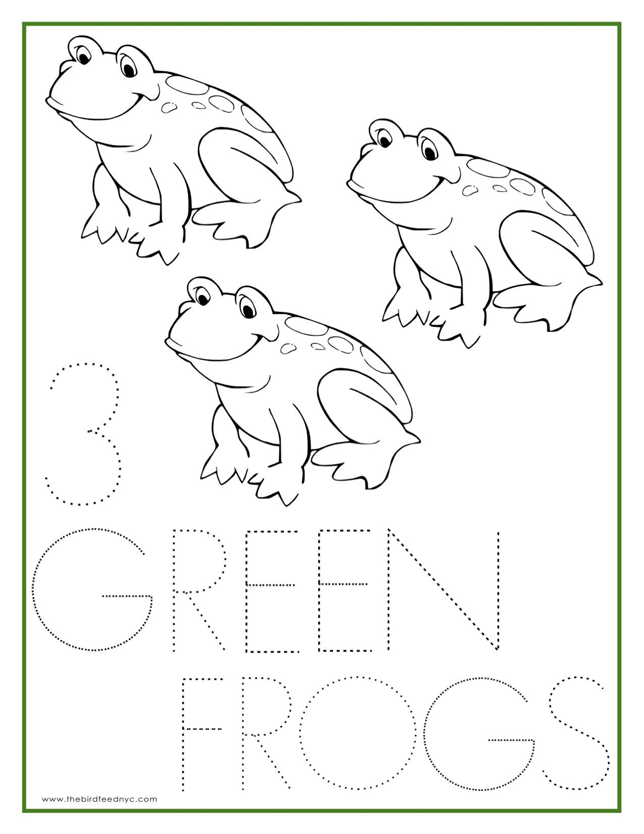 Number Coloring Sheet 3 Green Frogs
