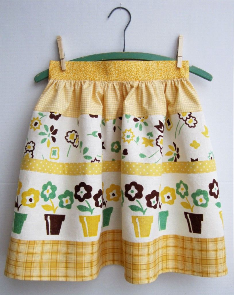 Apron from a vintage table cloth