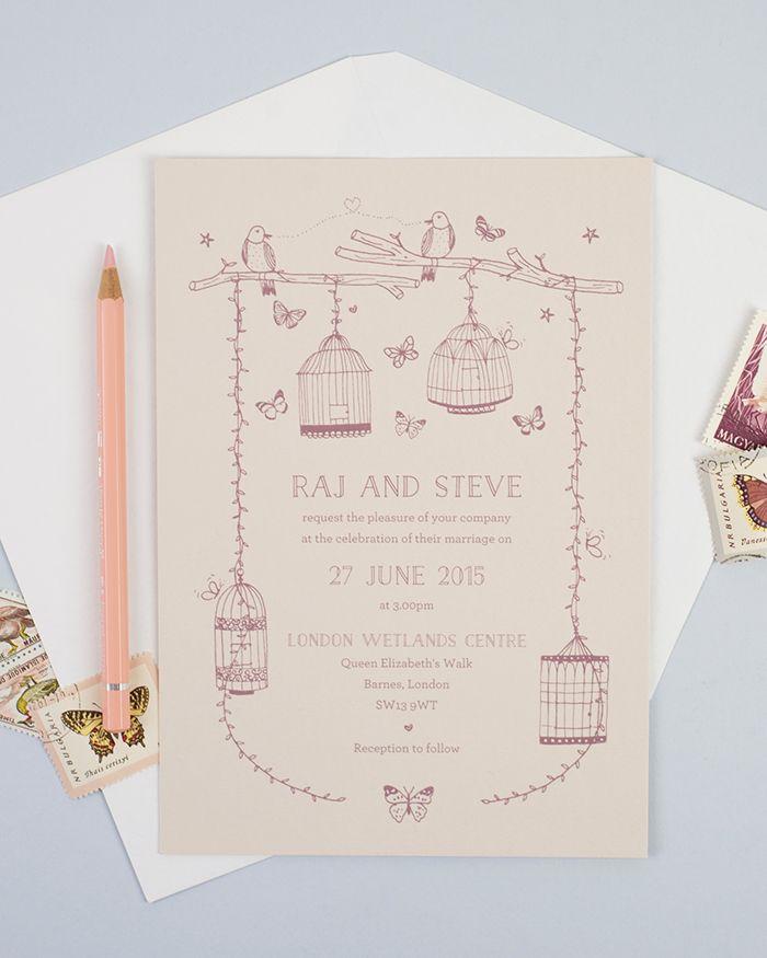 Photo of Schmetterling & Vogelkäfig illustrierte Einladung zur Hochzeit bei t …