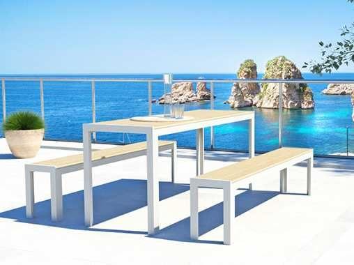 Artelia Fr Table Et Bancs Bois Composite Moniado Mobilier De Jardin Design Mobilier Jardin Meuble Exterieur