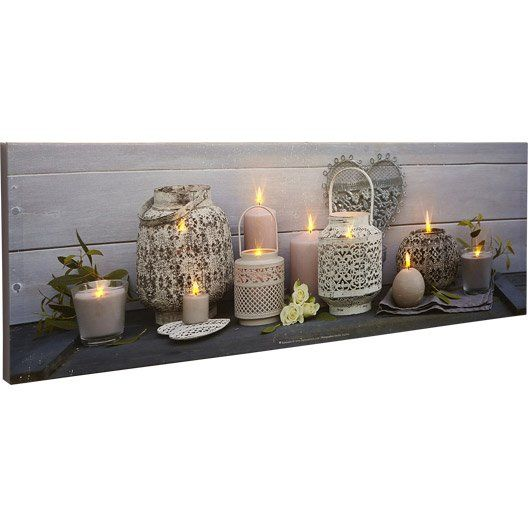 Toile Led Lanternes Bougies Roses Blanches 90x30 Cm