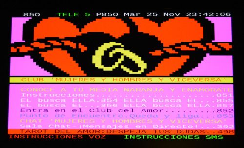 Teletext love club at Tele 5 (spanish TV channel) | text-mode | Art