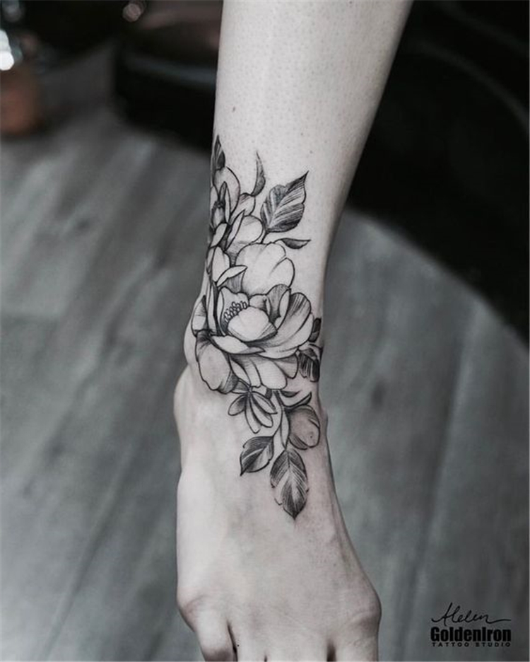 Floral Foot Tattoos : floral, tattoos, Gorgeous, Stunning, Ankle, Floral, Tattoo, Ideas, Inspiration, Women, Fashion, Lifestyle, Shinecoco.com, Tattoos, Girls,, Flowers,