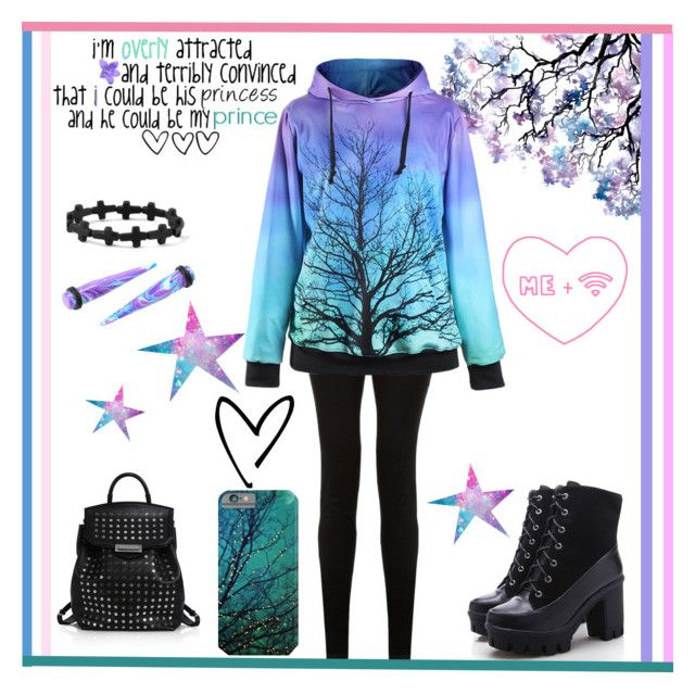 """""""galaxy!"""" by millieseed ❤ liked on Polyvore featuring claire's and Alexander Wang"""