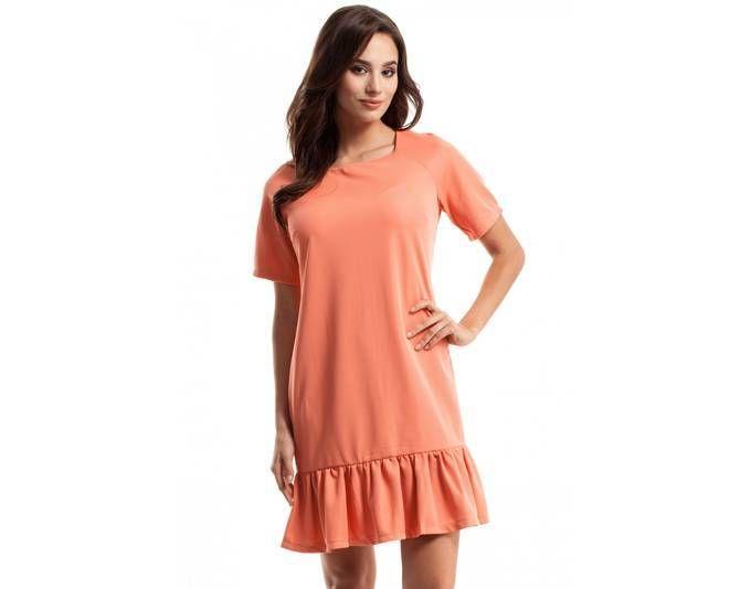Clea Kleid mit einer faltigen Rüsche ,Farbe: Koralle, Größe: 40 ...