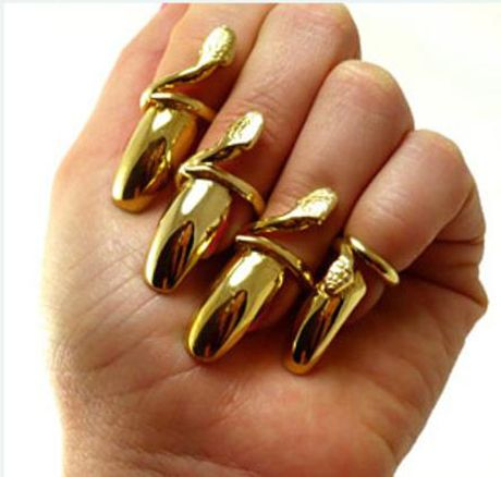 Jules Kim Golden Nail Rings Jewelry Obsessions Pinterest Nail