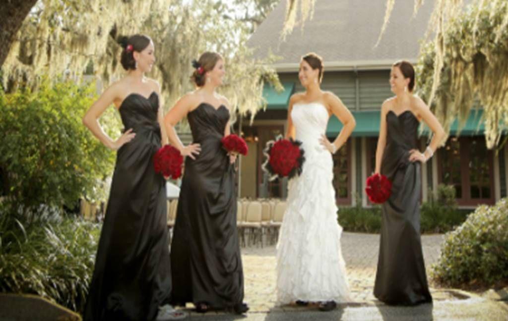 dark grey bridesmaid dresses with red roses