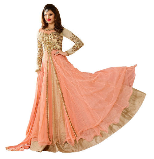 It Is A Unique Collection Of White And Light Peach Color Combination Anarkali Dress