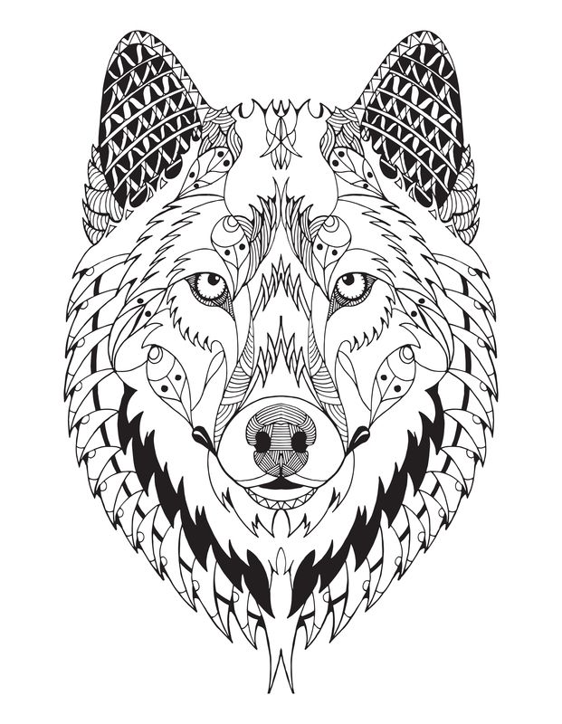 Wolf Mandalas : mandalas, Mandala, Mandalas, Wolf,, Outline,, Coloring