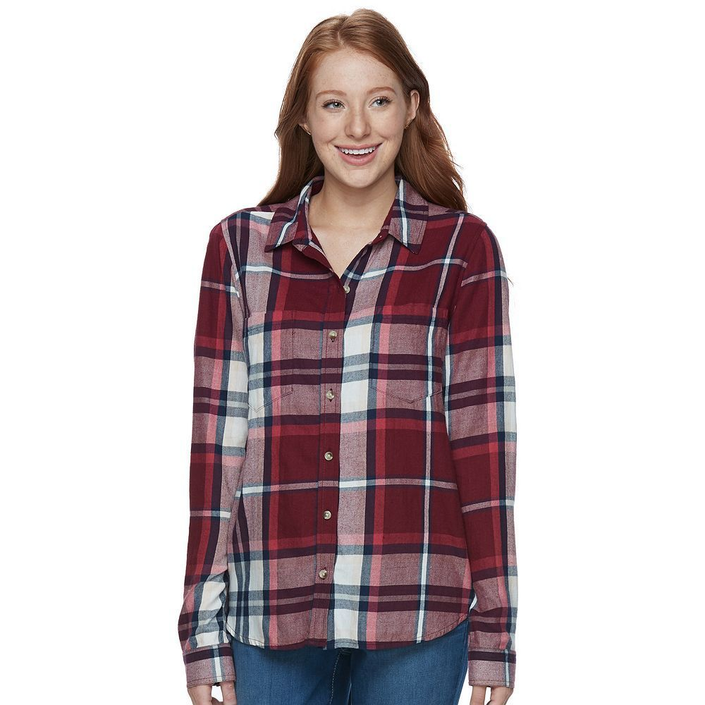 Flannel shirts at kohl's  Juniorsu SOÂ Pocket Plaid Flannel Shirt Teens Size Medium Red