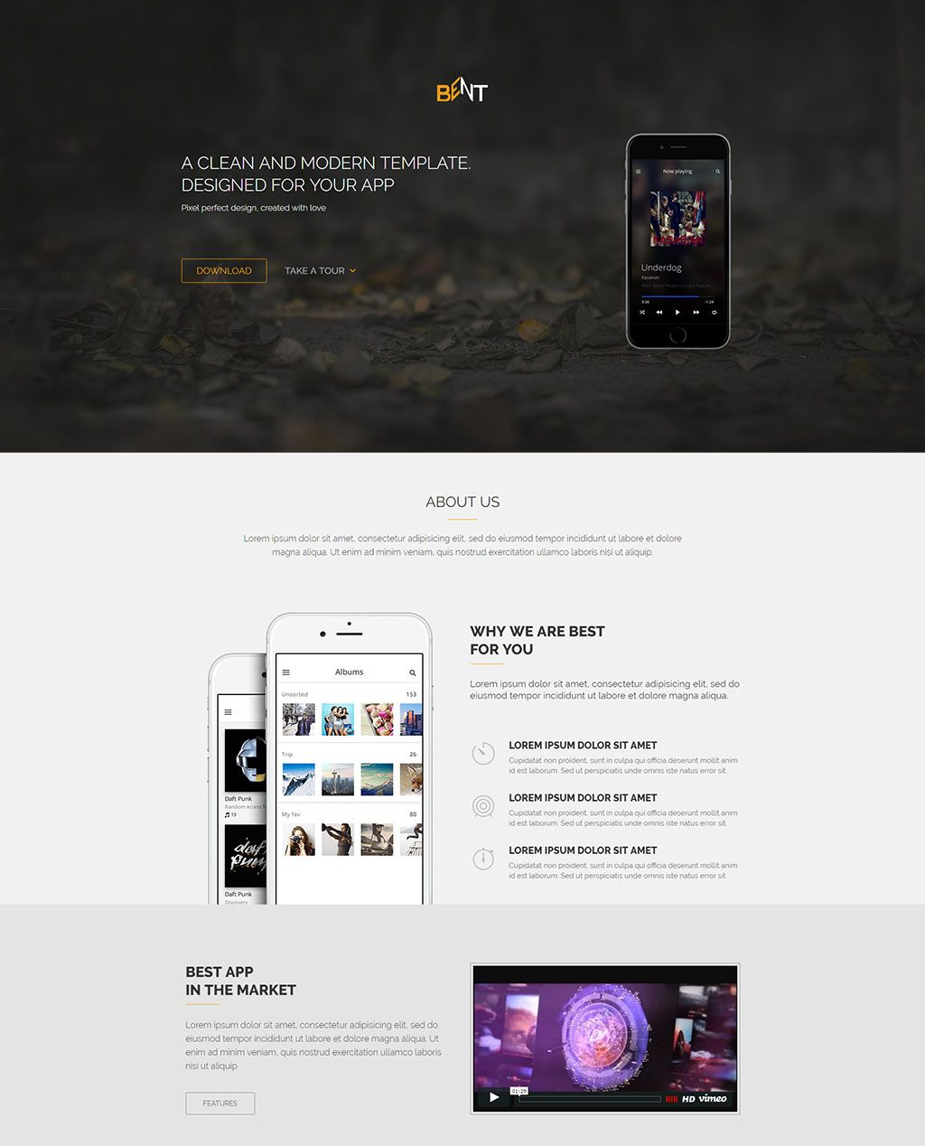 best responsive html landing page templates free premium bent app - Free Html Pages
