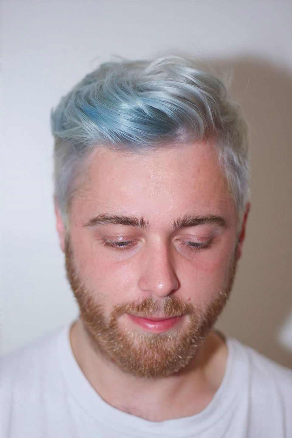 Men Fashion Hair Silver Platinum Blue Pastel Short Cool Hair