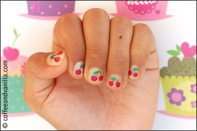 summer kids' nail art  cherry fingers  watermelon toes