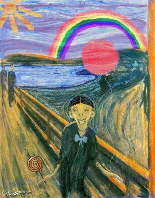 Le cri (de joie) par le petit Munch. | De schreeuw, Kunstgeschiedenis, Schilderij