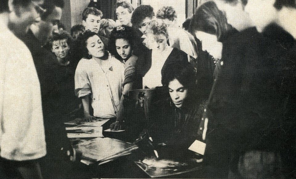 """Prince meets fans in London, 1988. """"This photo was taken at the Wembley Conference Center on the last day of Prince's 7 shows at Wembley Arena."""" Never knew this meet and greet took place, how cool to have met him during the Lovesexy era!"""